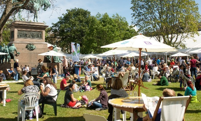 Relaxing in the sunshine at the Edinburgh International Book Festival. Photo courtesy of Edinburgh International Book Festival