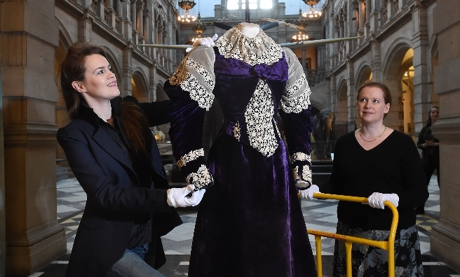 Judy R Clark and Rebecca Quinton with a purple silk dess circa 1895. Photo copyright CSG CIC Glasgow Museums Collection