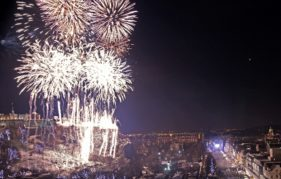 As the clock chimes 12, the fireworks begin. Photo by Lloyd Smith