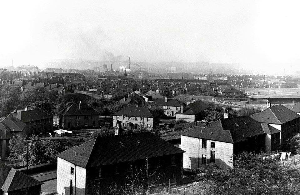 View across city, from Hampden Terrace, showing Dixon's Blazes ironworks and Third Lanark's Cathkin Park football ground