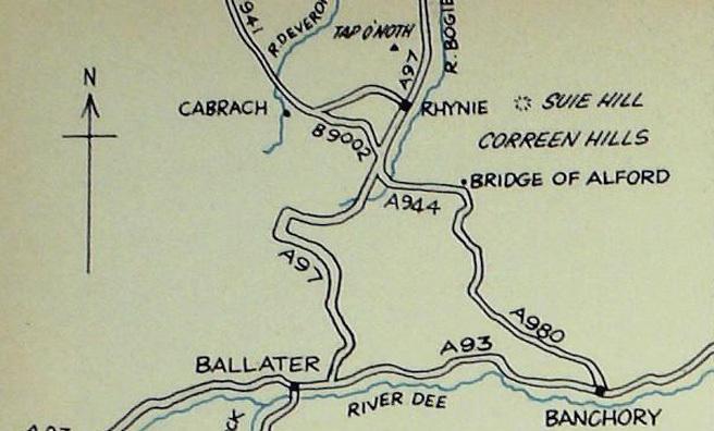 Map showing Cabrach