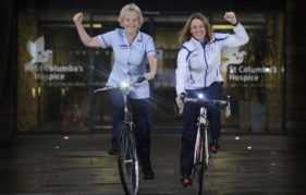 Jenny Davis, Team Scotland medal-winning cyclist, and hospice nurse Rona Thornton at the launch of The Celtic Challenge 2016. Neil Hanna Photography, copyright St Columba's Hospice