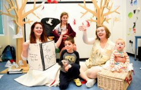 A mini performance of Snow White at the Sick Kids Hospital. Left to right: Catrin Sheridan, Elita McFarlane (10), Lewis Robb (6), Lisa Hannah Thompson and Alanna Jack (7 months). Photo by Greg McVean