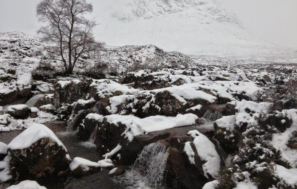 Snow blizzard on Glen Etive