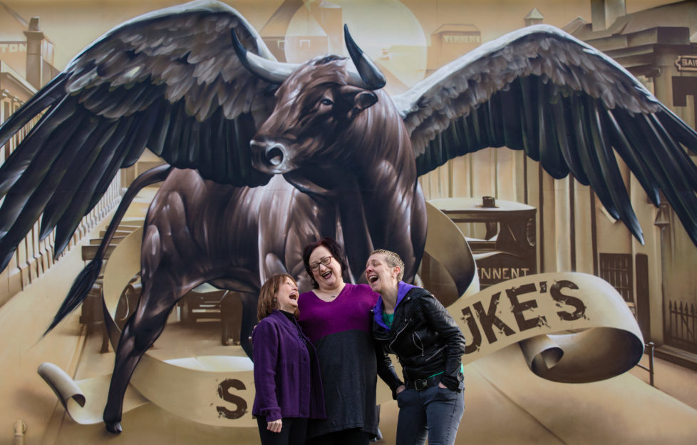 Maureen Carr, Elaine Mackenzie Ellis, and Karen Dunbar outside Saint Luke's. Pic: Martin Shields