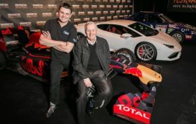 Paul Swift and the legendary Jimmy McRae with the Red Bull Racing RB6, a Lambhorghini Huracan and Colin McRae's Subaru at the launch of Ignition