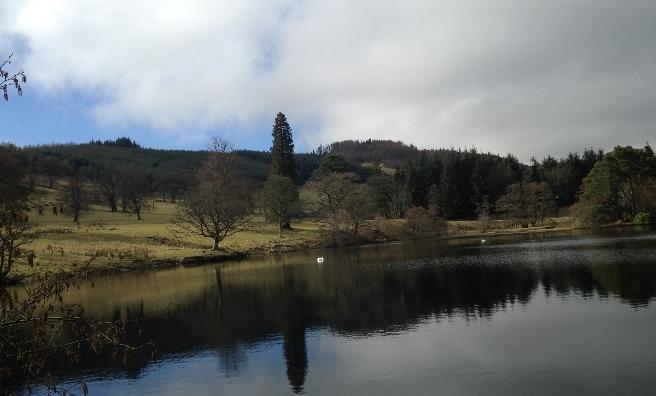 The fishing lake at Stobo Castle