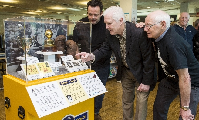 Open Museum outreach assistant Kevin Kerrigan, Former World Champion Boxer Jim Watt MBE and Bryan Turnbull of Remembering Benny Lynch