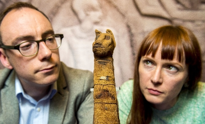 Dr Campbell Price, Curator of Egypt and Sudan, Manchester Museum and Katie Webbe, Glasgow Museums' Organic Objects Conservator examine some of the key objects that will be on display.