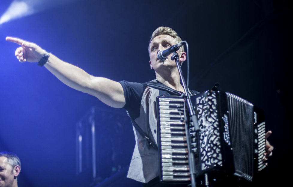 Daniel onstage with Skerryvore