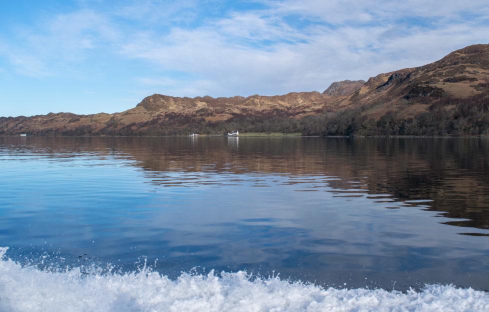Looking back from the ferry across Loch Nevis