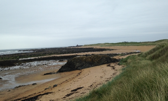 If only it had been sunny! One of the sandy coves on the approach to Elie
