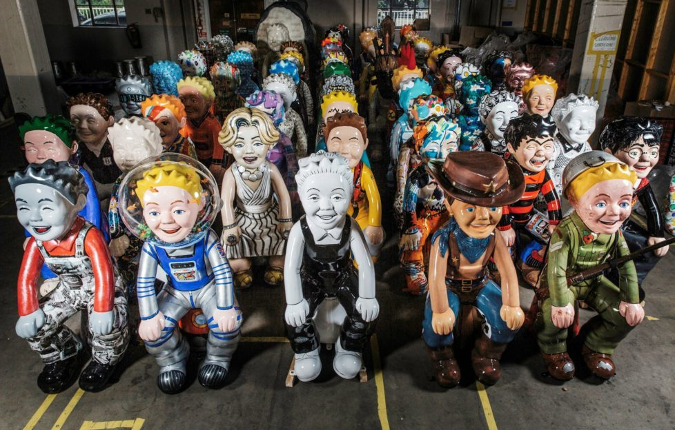 The 55 Oor Wullie statues, waiting patiently to be installed across Dundee.