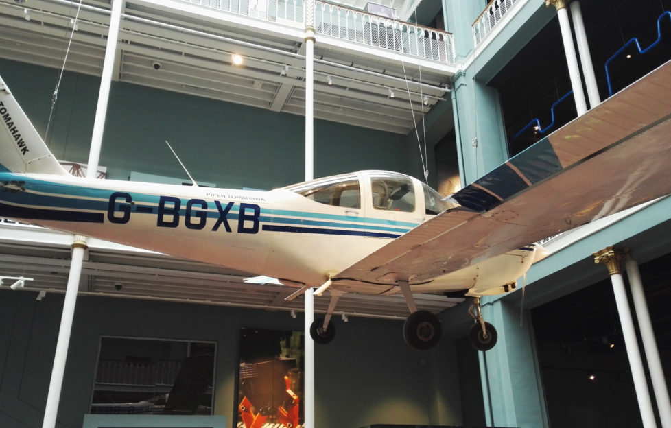 One of five planes that hang in the Science & Technology galleries