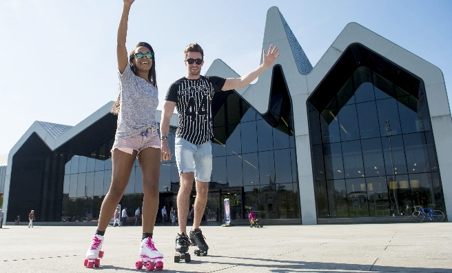 Rollerbladers Maggie Smith and Josh McGonigal get ready for the Festival of Wheels' Roller Disco!