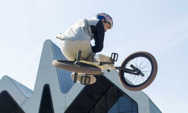 Chaz Mailey shows off his BMX skills, which will be part of the wheely good Festival of Wheels!