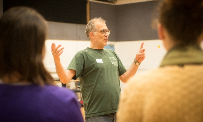ATC Artistic Director Ramin Gray explains all to the chorus. Photo by Alan McCredie