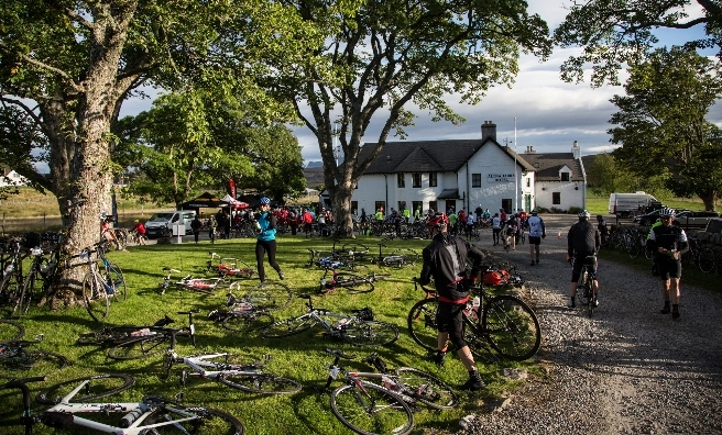 Time for a pitstop! Cyclists enjoy a spot of R&R at the Altnaharrah Inn