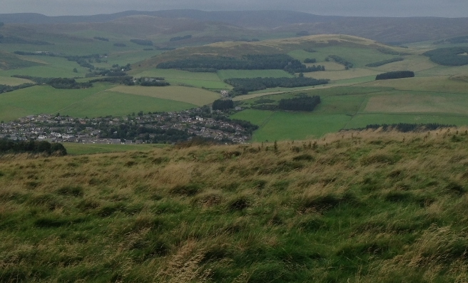 The view from the top of Meigle Hill, looking down on Clovenfords