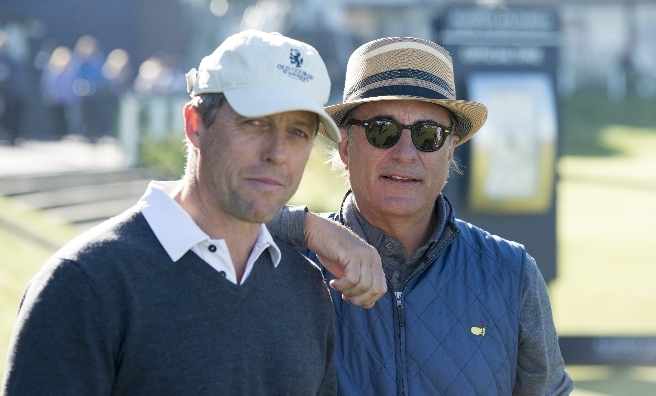 Hugh Grant and Andy Garcia at the Alfred Dunhill Links Championship 2015. Pic by Ian McIlgorm