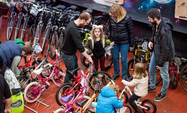 Finding the perfect bike at a bike jumble sale in Glasgow - one of the many events encouraging us all to get on our bikes! Photo by Andy Catlin