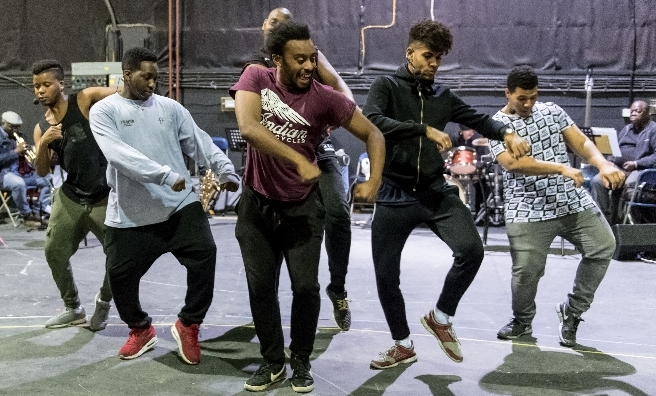 Rehearsals for Five Guys Named Mo - in Edinburgh until January. Photo by Manual Harlan