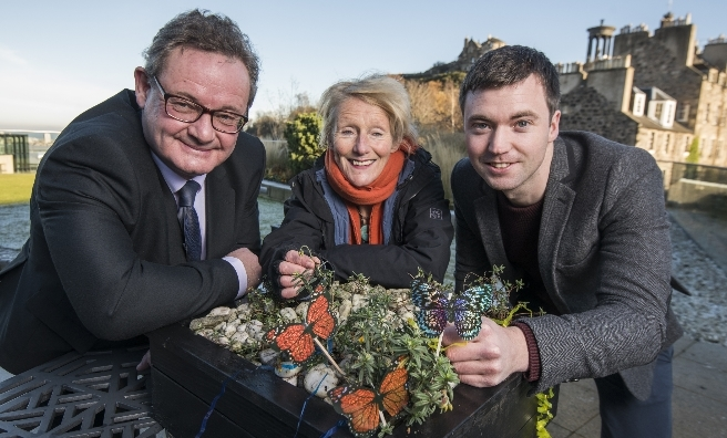 At the launch of 'A Square Metre for Butterflies'. Hamish Torrie of Glenmrangie, Leonie Alexander of RGBE and Anthony McCluskey of Butterfly Conservation Scotland
