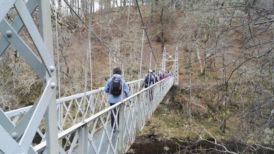 Crossing the Coronation Bridge over the River Tummel
