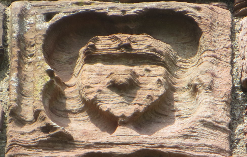 The weathered but still distinct Douglas Castle arms at Bothwell Castle