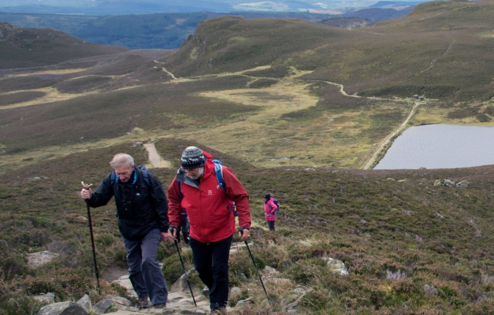 Jim and Cameron summit a particularly steep section. Pic: Ian Moffat
