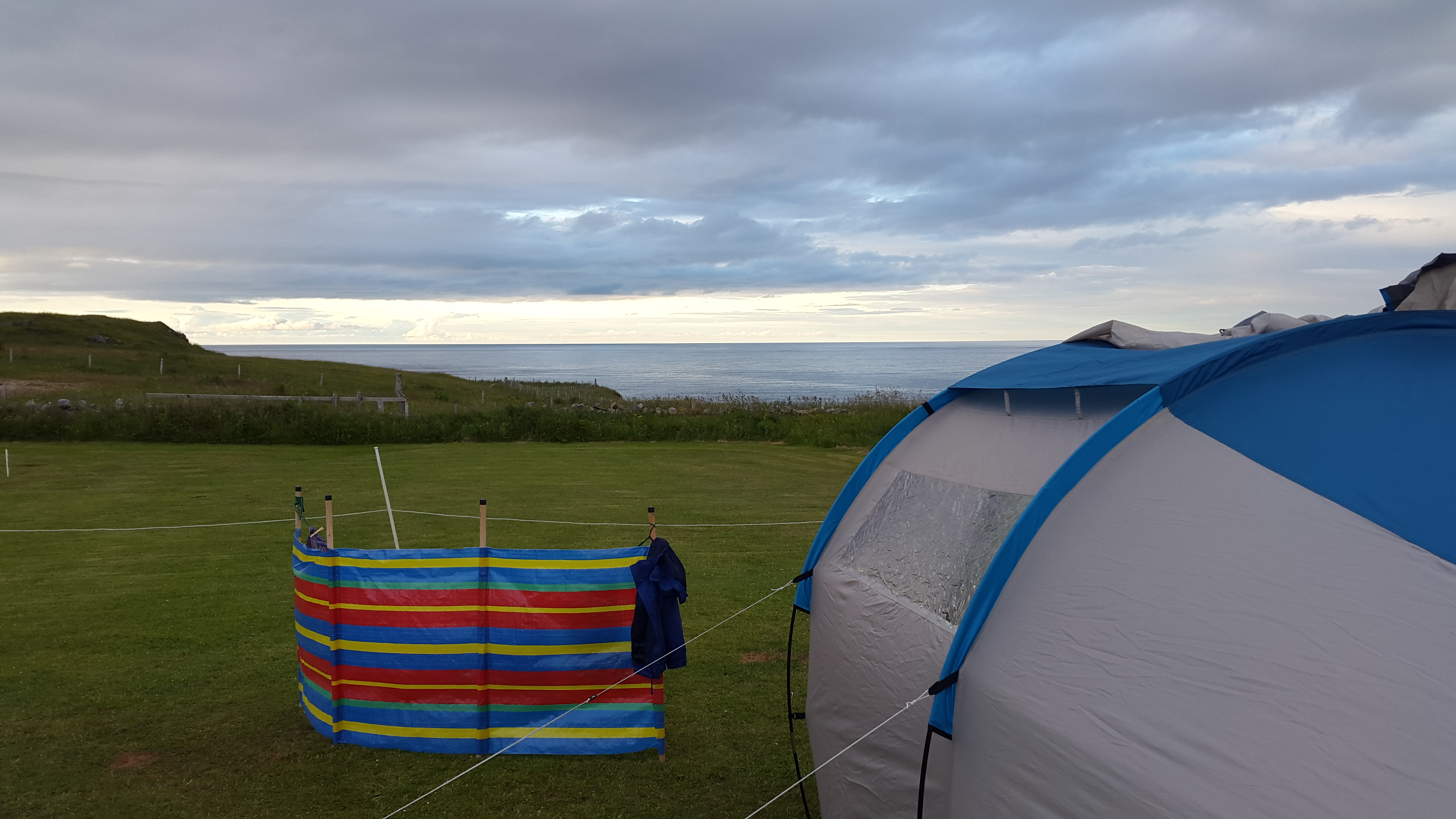 Decathlon Quechua Arpenaz Family 4.1 tent withstanding the winds on a trip to Durness, Sutherland.