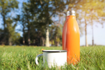 eco-friendly camping metal flask and mug
