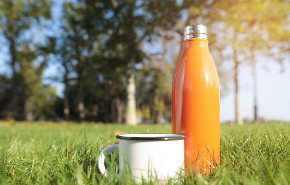 eco-friendly camping metal flask and mug