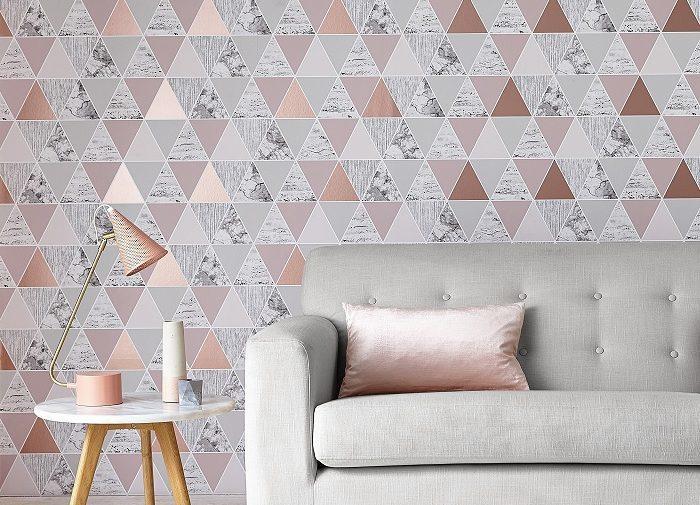 Graham and Brown Geometric rose gold wallpaper