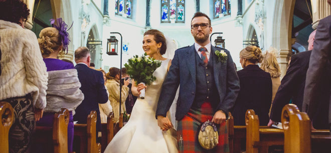 Featured Image for Festive wedding day for childhood sweethearts at Òran Mór, Glasgow