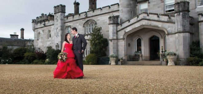 Featured Image for American wedding with fabulous red wedding dress at Dundas Castle, South Queensferry