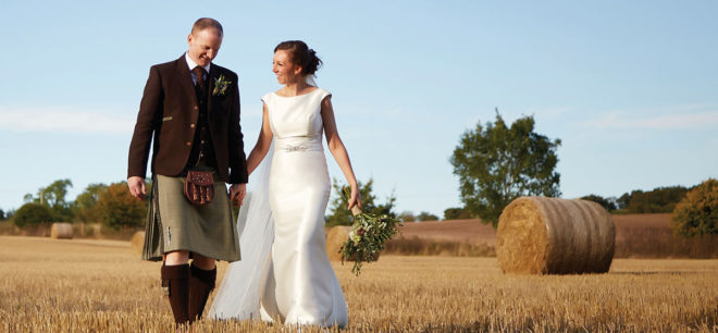 Featured Image for Autumnal wedding for music-loving couple at Wedderburn Castle + Barns, Duns
