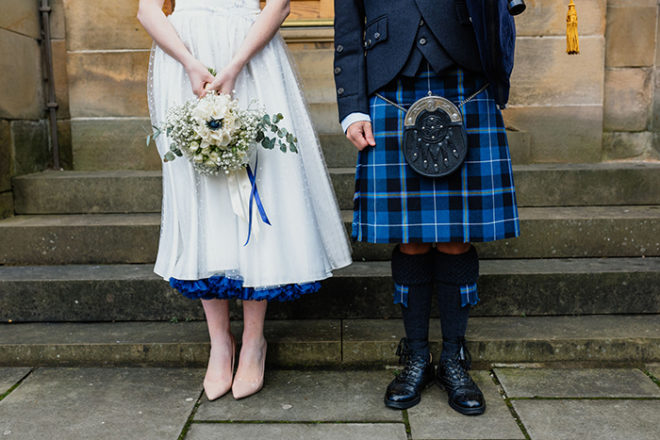 Featured Image for Beautiful + Scottish bridal shoot at The National Piping Centre, Glasgow