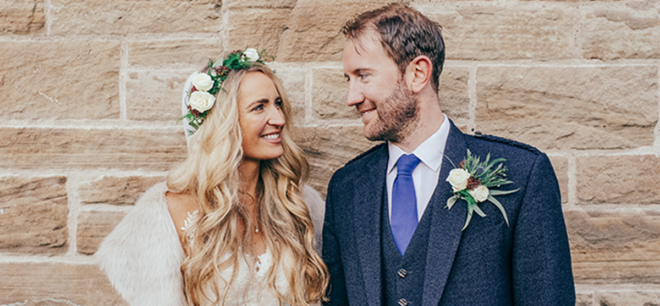 Featured Image for Glamorous + boho wedding with rustic flowers at Mansfield Traquair, Edinburgh