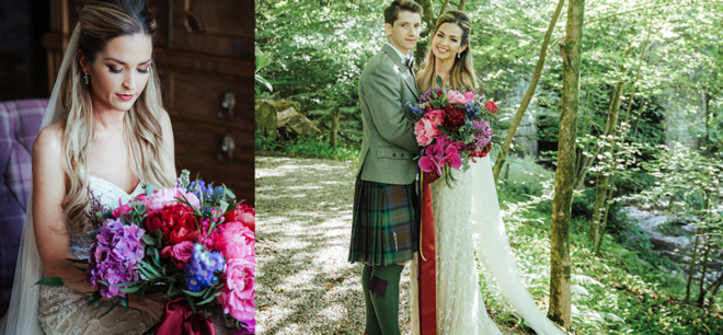 Featured Image for Jewel tones + geometrics at modern fairytale wedding at Crossbasket Castle, Blantyre