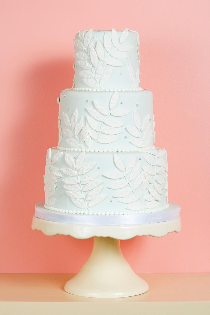 powder blue and white wedding cake