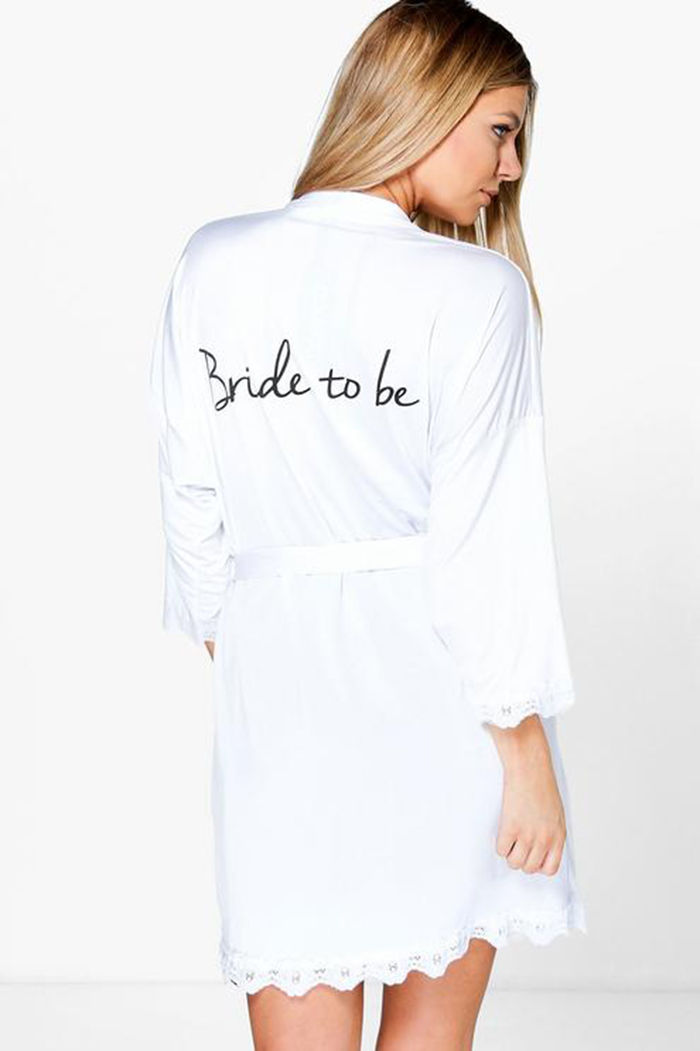 Stylish bride and bridesmaid dressing gowns Boohoo