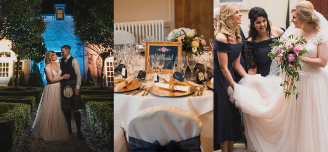 Featured Image for Navy and blush themed romantic wedding day at Glenskirlie House + Castle