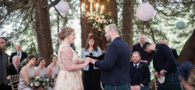 Featured Image for Woodland wedding day with gorgeous bespoke blossom gown at Tullibole Castle, Perthshire