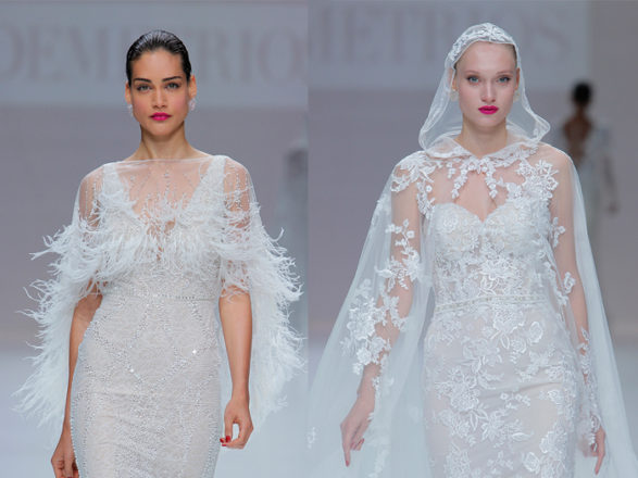 Featured Image for The Demetrios 2019 runway show was filled with magical winter wedding dresses