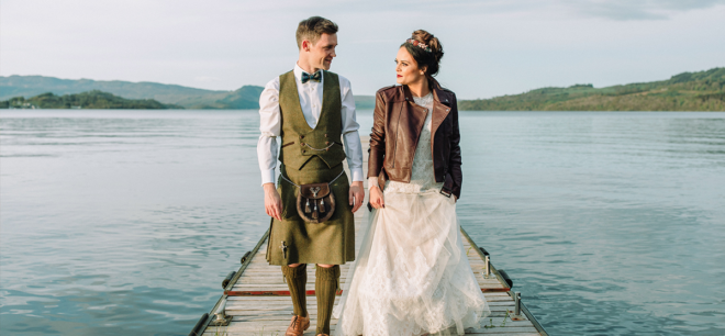 Featured Image for Cool waterside wedding with amazing flowers at The Cruin, Loch Lomond