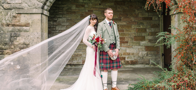 Featured Image for Rowallan Castle wedding day with autumnal colour scheme in Ayrshire