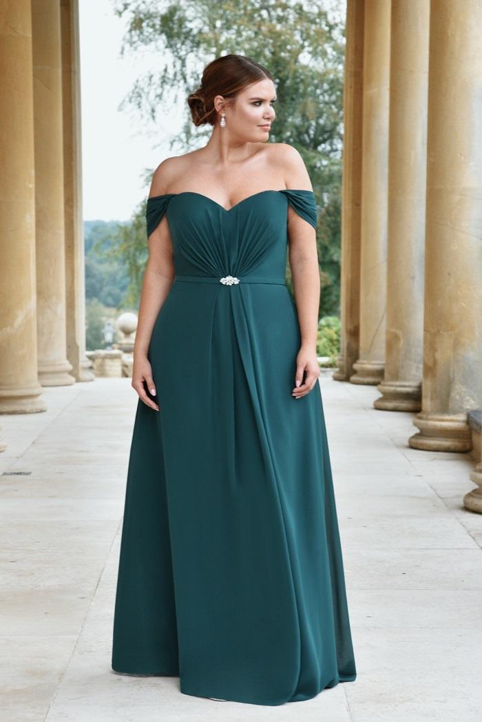 True Bride green bridesmaid dress