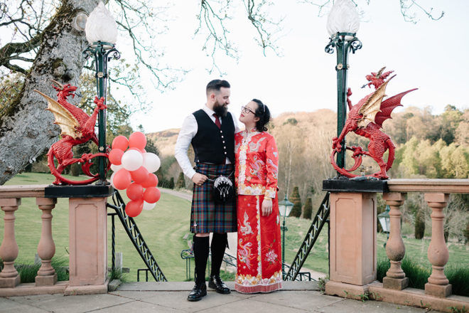 Featured Image for Scottish-Chinese wedding day with three ceremonies at Fingask Castle, Perthshire
