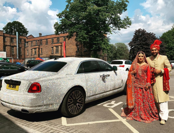 Featured Image for Newlyweds dazzle Glasgow in a diamond-covered Rolls Royce